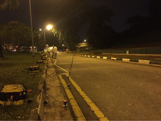Survey line layout along Kranji Road in Singapore.